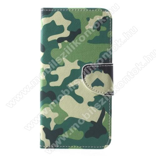 Notesz / mappa tok - TEREPMINTÁS - oldalra nyíló, rejtett mágneses záródás, belső zseb, asztali tartó funkció, szilikon belső - APPLE iPhone Xr