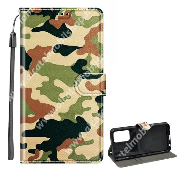 Notesz / mappa tok - TEREPMINTÁS - oldalra nyíló, rejtett mágneses záródás, belső zseb, asztali tartó funkció, csuklópánt, szilikon belső - SAMSUNG Galaxy A52 5G (SM-A526F) / A52 4G (SM-A525F) / A52s 5G (SM-A528B / SM-A528B/DS)