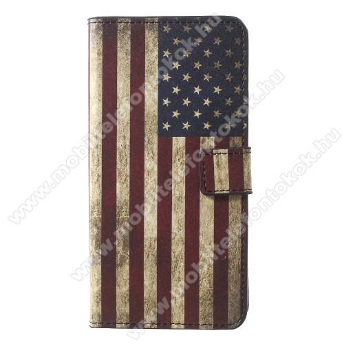 APPLE iPhone XrNotesz / mappa tok - USA ZÁSZLÓ MINTÁS - oldalra nyíló, rejtett mágneses záródás, belső zseb, asztali tartó funkció, szilikon belső - APPLE iPhone Xr