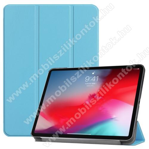 Notesz / mappa tok - VILÁGOSKÉK - oldalra nyíló flip cover, TRIFOLD asztali tartó funkciós, mágneses záródás - APPLE iPad Pro 11 (2018)