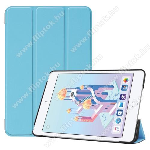 Notesz / mappa tok - VILÁGOSKÉK - oldalra nyíló flip cover, TRIFOLD asztali tartó funkciós, mágneses záródás, műanyag belső - Apple iPad mini (2019)