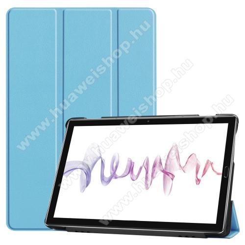 Notesz / mappa tok - VILÁGOSKÉK - oldalra nyíló flip cover, TRIFOLD asztali tartó funkciós, mágneses záródás - HUAWEI MediaPad M6 10.8