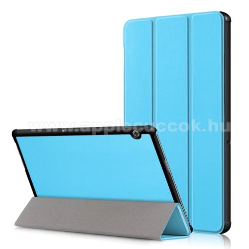 Notesz / mappa tok - VILÁGOSKÉK - oldalra nyíló flip cover, TRIFOLD asztali tartó funkciós, mágneses záródás, erősített sarkok, műanyag belső - HUAWEI MediaPad T5 10