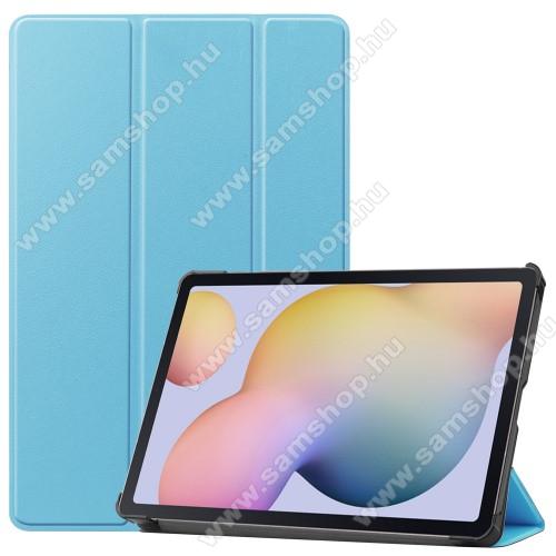 SAMSUNG Galaxy Tab S7 (SM-T870/T875/T876B)Notesz / mappa tok - VILÁGOSKÉK - oldalra nyíló flip cover, TRIFOLD asztali tartó funkciós, erősített sarkok, műanyag belső - SAMSUNG Galaxy Tab S7 (SM-T870/T875/T876B)