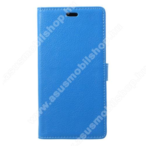 Notesz / mappa tok - VILÁGOSKÉK - oldalra nyíló, rejtett mágneses záródás, belső zseb, asztali tartó funkció, szilikon belső - Asus Zenfone 4 Max (ZC554KL)