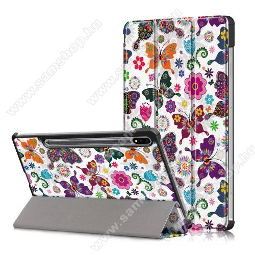 SAMSUNG Galaxy Tab S7 (SM-T870/T875/T876B)Notesz / mappa tok - VIRÁG / LEKPE MINTÁS - oldalra nyíló flip cover, TRIFOLD asztali tartó funkció, műanyag belső, ERŐSÍTETT SARKOKKAL! - SAMSUNG Galaxy Tab S7 (SM-T870/T875/T876B)