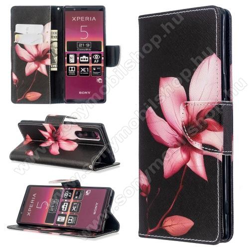 Notesz / mappa tok - VIRÁG MINTÁS - oldalra nyíló, rejtett mágneses záródás, belső zseb, asztali tartó funkció, szilikon belső - Sony Xperia 5