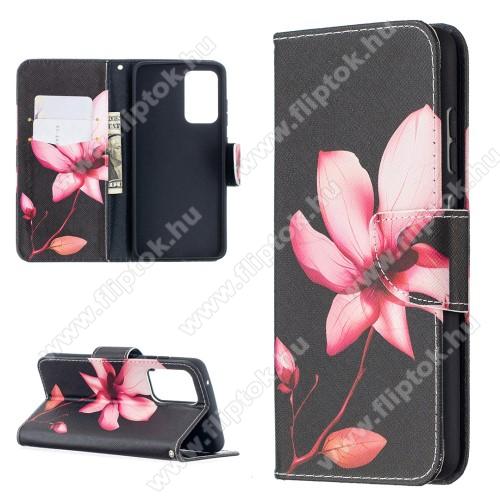 Notesz / mappa tok - VIRÁG MINTÁS - oldalra nyíló, rejtett mágneses záródás, belső zseb, asztali tartó funkció, szilikon belső - SAMSUNG Galaxy A52 5G (SM-A526F) / Galaxy A52 4G (SM-A525F)