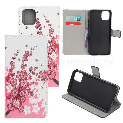 Notesz / mappa tok - VIRÁGZÓ FA MINTÁS - oldalra nyíló, rejtett mágneses záródás, belső zseb, asztali tartó funkció, szilikon belső - APPLE iPhone 11