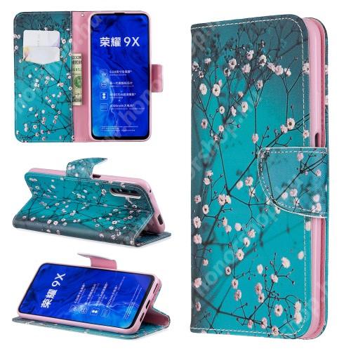 HUAWEI Honor 9X (For China market)Notesz / mappa tok - VIRÁGZÓ FA MINTÁS - oldalra nyíló, rejtett mágneses záródás, belső zseb, asztali tartó funkció, szilikon belső - HUAWEI P smart Pro (2019) / HUAWEI Y9s / Honor 9X (For China market) / Honor 9X Pro (For China)