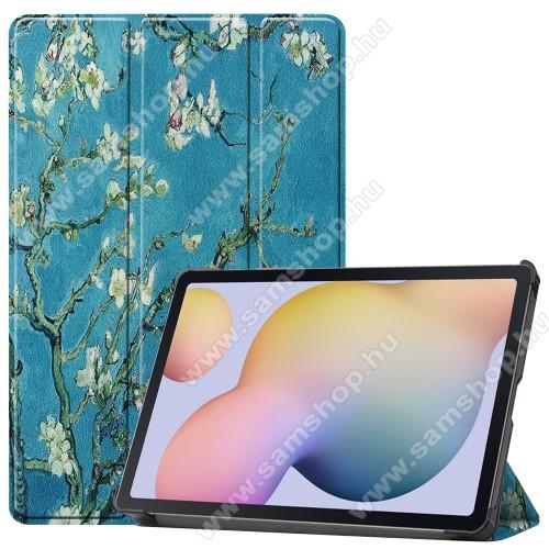 SAMSUNG Galaxy Tab S7 (SM-T870/T875/T876B)Notesz / mappa tok - VIRÁGZÓ FA MINTÁS - oldalra nyíló flip cover, TRIFOLD asztali tartó funkció, műanyag belső, ERŐSÍTETT SARKOKKAL! - SAMSUNG Galaxy Tab S7 (SM-T870/T875/T876B)
