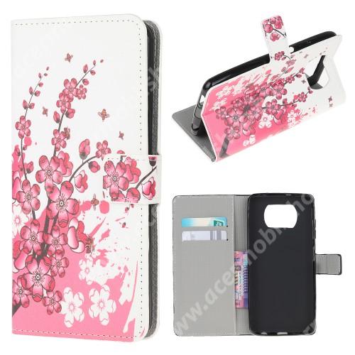 Notesz / mappa tok - VIRÁGZÓ FA MINTÁS - oldalra nyíló, rejtett mágneses záródás, bankkártyatartó zseb, asztali tartó funkció, szilikon belső - Xiaomi Poco X3 / Poco X3 NFC / Poco X3 Pro