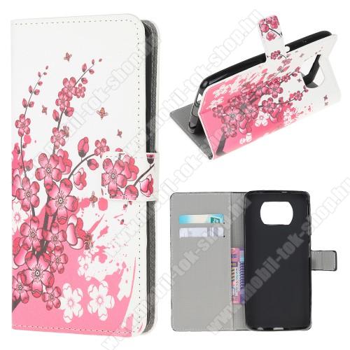 Notesz / mappa tok - VIRÁGZÓ FA MINTÁS - oldalra nyíló, rejtett mágneses záródás, bankkártyatartó zseb, asztali tartó funkció, szilikon belső - Xiaomi Poco X3 / Poco X3 NFC