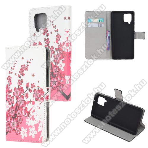 Notesz / mappa tok - VIRÁGZÓ FA MINTÁS - oldalra nyíló, rejtett mágneses záródás, bankkártyatartó zseb, asztali tartó funkció, szilikon belső - SAMSUNG Galaxy A42 5G (SM-A425F)