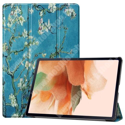 Notesz / mappa tok - VIRÁGZÓ FA MINTÁS - oldalra nyíló flip cover, TRIFOLD asztali tartó funkció, mágneses záródás, ceruzatartó, erősített sarkok, műanyag belső - SAMSUNG Galaxy Tab S7 FE (SM-T730) / Galaxy Tab S7 FE 5G (SM-T736)