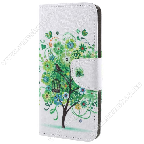 Notesz / mappa tok - ZÖLD FA MINTÁS - oldalra nyíló, rejtett mágneses záródás, belső zseb, asztali tartó funkció, szilikon belső - SAMSUNG SM-G965 Galaxy S9+