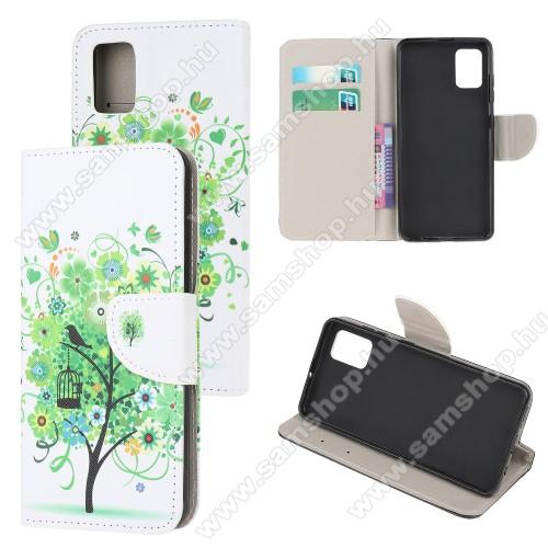 Notesz / mappa tok - ZÖLD FA MINTÁS - oldalra nyíló, rejtett mágneses záródás, belső zsebek, asztali tartó funkció, szilikon belső - SAMSUNG Galaxy A31 (SM-A315F)