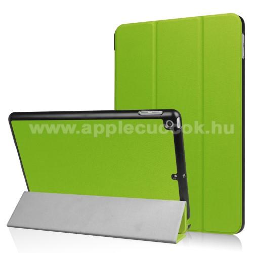 Notesz / mappa tok - ZÖLD - oldalra nyíló flip cover, TRIFOLD asztali tartó funkciós, mágneses záródás - APPLE iPad 9.7 (2017)