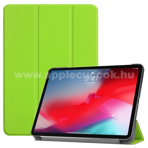 Notesz / mappa tok - ZÖLD - oldalra nyíló flip cover, TRIFOLD asztali tartó funkciós, mágneses záródás - APPLE iPad Pro 11 (2018)