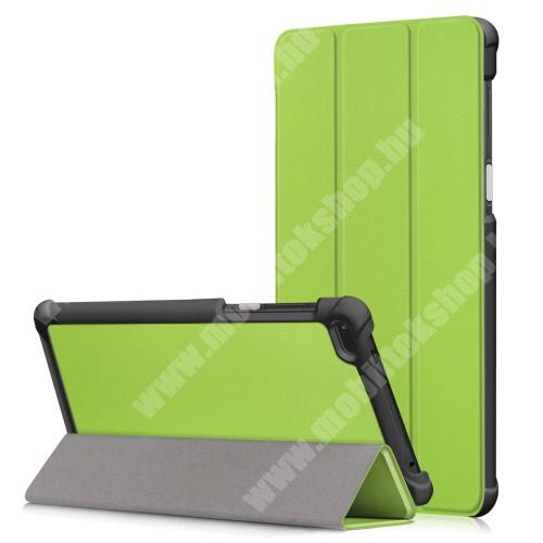 Notesz / mappa tok - ZÖLD - oldalra nyíló flip cover, TRIFOLD asztali tartó funkciós, mágneses záródás - Lenovo Tab 7 Essential (2017) / Lenovo Tab 4 7 (TB-7304F)
