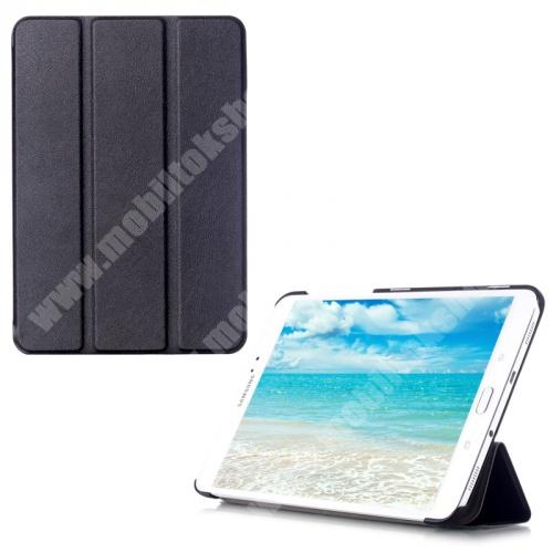 Notesz tok / bőr hátlap - oldalra nyíló flip cover, TRIFOLD asztali tartó funkciós - FEKETE - SAMSUNG SM-T710 / SM-T715 Galaxy Tab S2 8.0