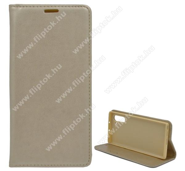 Notesz tok / flip tok - ARANY - asztali tartó funkciós, oldalra nyíló, szilikon belső - SAMSUNG SM-N970F Galaxy Note10 / SAMSUNG SM-N971U Galaxy Note10 5G