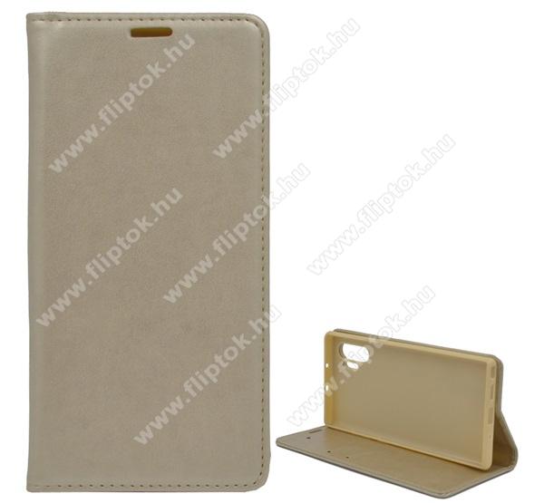 Notesz tok / flip tok - ARANY - asztali tartó funkciós, oldalra nyíló, szilikon belső - SAMSUNG SM-N975F Galaxy Note10+ / SAMSUNG SM-N976F Galaxy Note10+ 5G