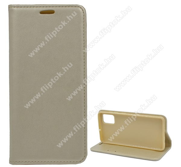 Notesz tok / flip tok - ARANY - asztali tartó funkciós, oldalra nyíló, rejtett mágneses záródás, bankkártyatartó zseb, szilikon belső - SAMSUNG Galaxy A51 (SM-A515F)