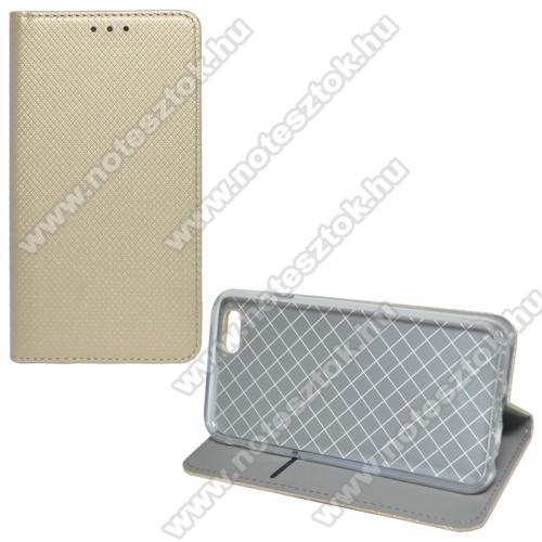 APPLE iPhone 6Notesz tok / flip tok - ARANY - rombusz mintás, rejtett mágneses záródás, asztali tartó funkciós, oldalra nyíló, bankkártya tartó zseb, szilikon belső - APPLE IPhone 6