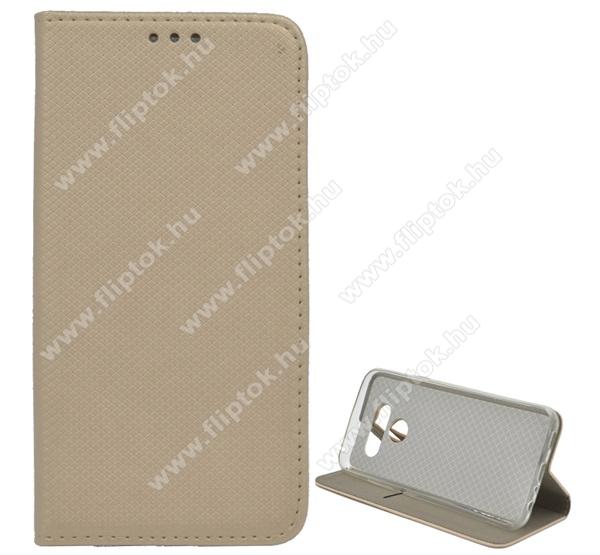 Notesz tok / flip tok - ARANY - rombusz mintás, asztali tartó funkciós, oldalra nyíló, bankkártya tartó zseb, szilikon belső - LG Q60