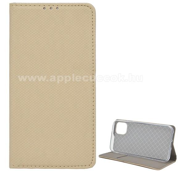 Notesz tok / flip tok - ARANY - rombusz mintás, rejtett mágneses záródás, asztali tartó funkciós, oldalra nyíló, bankkártya tartó zseb, szilikon belső - APPLE iPhone 11 Pro