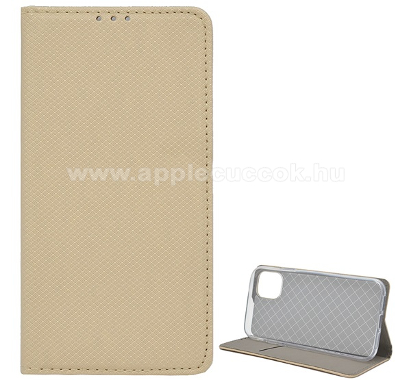 Notesz tok / flip tok - ARANY - rombusz mintás, rejtett mágneses záródás, asztali tartó funkciós, oldalra nyíló, bankkártya tartó zseb, szilikon belső - APPLE iPhone 11 Pro Max