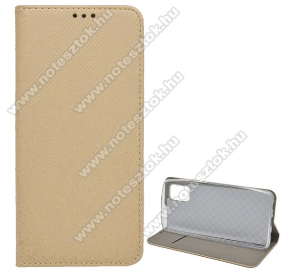 Notesz tok / flip tok - ARANY - rombusz mintás, rejtett mágneses záródás, asztali tartó funkciós, oldalra nyíló, bankkártya tartó zseb, szilikon belső - SAMSUNG Galaxy M51 (SM-M515F)
