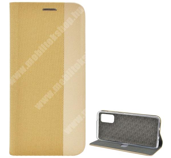 Notesz tok / flip tok - ARANY - textil hatás, asztali tartó funkciós, oldalra nyíló, bankkártya tartó zseb, szilikon belső - SAMSUNG SM-G980F Galaxy S20 / SAMSUNG SM-G981F Galaxy S20 5G
