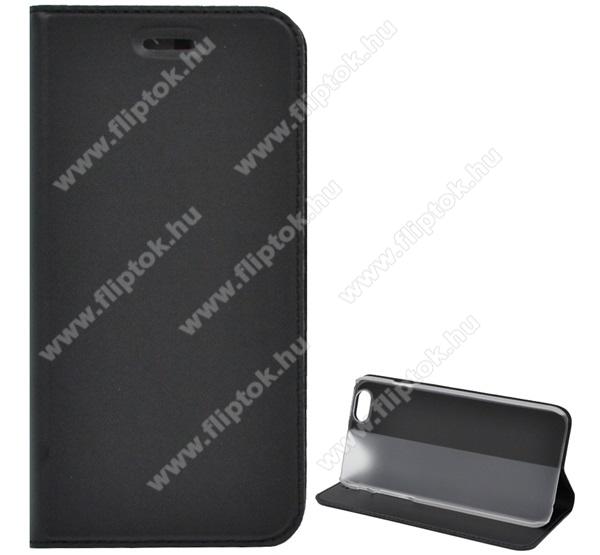 APPLE iPhone 6Notesz tok/ flip tok - asztali tartó funkciós, oldalra nyíló, rejtett mágneses záródás, bankkártya tartó zsebekkel - FEKETE - APPLE iPhone 6