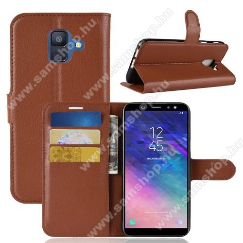 Notesz tok / flip tok - BARNA - asztali tartó funkciós, oldalra nyíló, rejtett mágneses záródás, bankkártyatartó zseb, szilikon belső - SAMSUNG SM-A600F Galaxy A6 (2018)