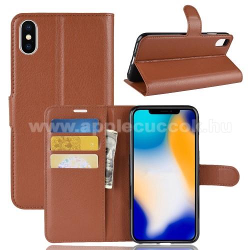 Notesz tok / flip tok - BARNA - asztali tartó funkciós, oldalra nyíló, rejtett mágneses záródás, bankkártyatartó zseb, szilikon belső - APPLE iPhone XS Max