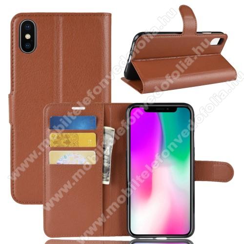 Notesz tok / flip tok - BARNA - asztali tartó funkciós, oldalra nyíló, rejtett mágneses záródás, bankkártyatartó zseb, szilikon belső - APPLE iPhone Xr