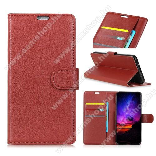 Notesz tok / flip tok - BARNA - asztali tartó funkciós, oldalra nyíló, rejtett mágneses záródás, bankkártyatartó zseb, szilikon belső - SAMSUNG Galaxy A9 (2018)