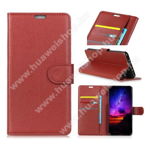 Notesz tok / flip tok - BARNA - asztali tartó funkciós, oldalra nyíló, rejtett mágneses záródás, bankkártyatartó zseb, szilikon belső - HUAWEI P30 Pro