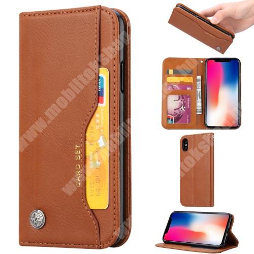 Notesz tok / flip tok - BARNA - asztali tartó funkciós, oldalra nyíló, rejtett mágneses záródás, bankkártya tartó zsebekkel, szilikon belső - APPLE iPhone X / APPLE iPhone XS