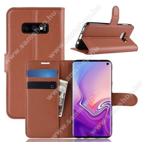 Notesz tok / flip tok - BARNA - asztali tartó funkciós, oldalra nyíló, rejtett mágneses záródás, bankkártyatartó zseb, szilikon belső - SAMSUNG SM-G970F Galaxy S10e