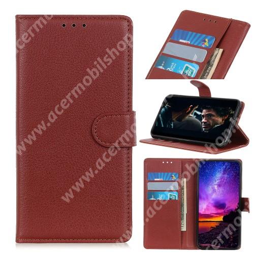 Notesz tok / flip tok - BARNA - asztali tartó funkciós, oldalra nyíló, rejtett mágneses záródás, bankkártyatartó zseb, szilikon belső - Xiaomi Redmi Note 8T