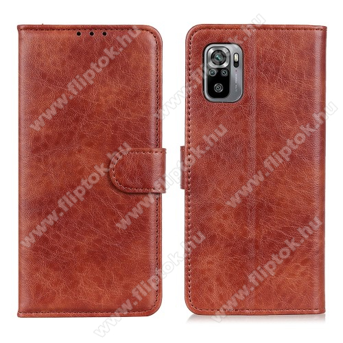 Notesz tok / flip tok - BARNA - hasított bőr, asztali tartó funkciós, oldalra nyíló, rejtett mágneses záródás, bankkártya tartó zseb, szilikon belső - Xiaomi Redmi Note 10 / Redmi Note 10S