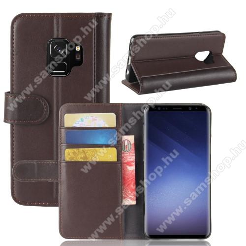 Notesz tok / flip tok - BARNA - valódi bőr, asztali tartó funkciós, oldalra nyíló, rejtett mágneses záródás, bankkártyatartó zseb, szilikon belső - SAMSUNG SM-G960 Galaxy S9