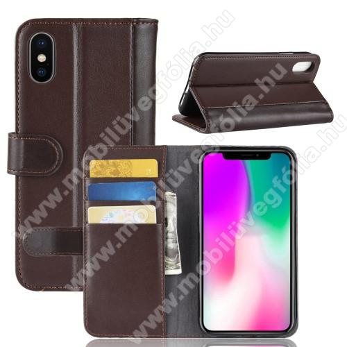 Notesz tok / flip tok - BARNA - valódi bőr, asztali tartó funkciós, oldalra nyíló, rejtett mágneses záródás, bankkártyatartó zseb, szilikon belső - APPLE iPhone Xr