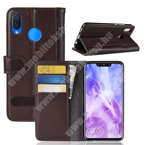 Notesz tok / flip tok - BARNA - valódi bőr, asztali tartó funkciós, oldalra nyíló, rejtett mágneses záródás, bankkártya tartó zsebekkel, szilikon belső - HUAWEI nova 3