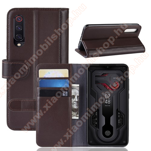 Notesz tok / flip tok - BARNA - valódi bőr, asztali tartó funkciós, oldalra nyíló, rejtett mágneses záródás, bankkártyatartó zseb, szilikon belső - Xiaomi Mi 9 / Xiaomi Mi 9 Explorer