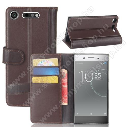 Notesz tok / flip tok - BARNA - valódi bőr, asztali tartó funkciós, oldalra nyíló, rejtett mágneses záródás, bankkártyatartó zseb, szilikon belső - Sony Xperia XZ1