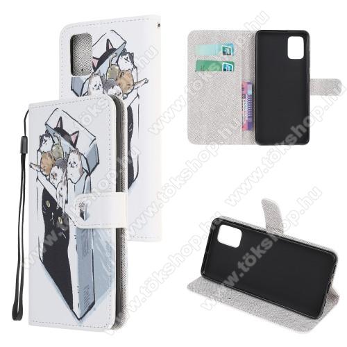 Notesz tok / flip tok - CICÁS MINTÁS - asztali tartó funkciós, oldalra nyíló, rejtett mágneses záródás, bankkártyatartó zseb, szilikon belső - SAMSUNG Galaxy A51 (SM-A515F)